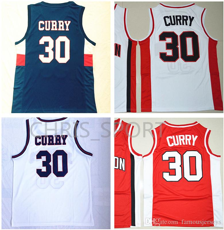 Davidson College Jerseys 30 Stitched Basketball Jerseys Charlotte Catholic High School Knights Stephen Player Game Uniform
