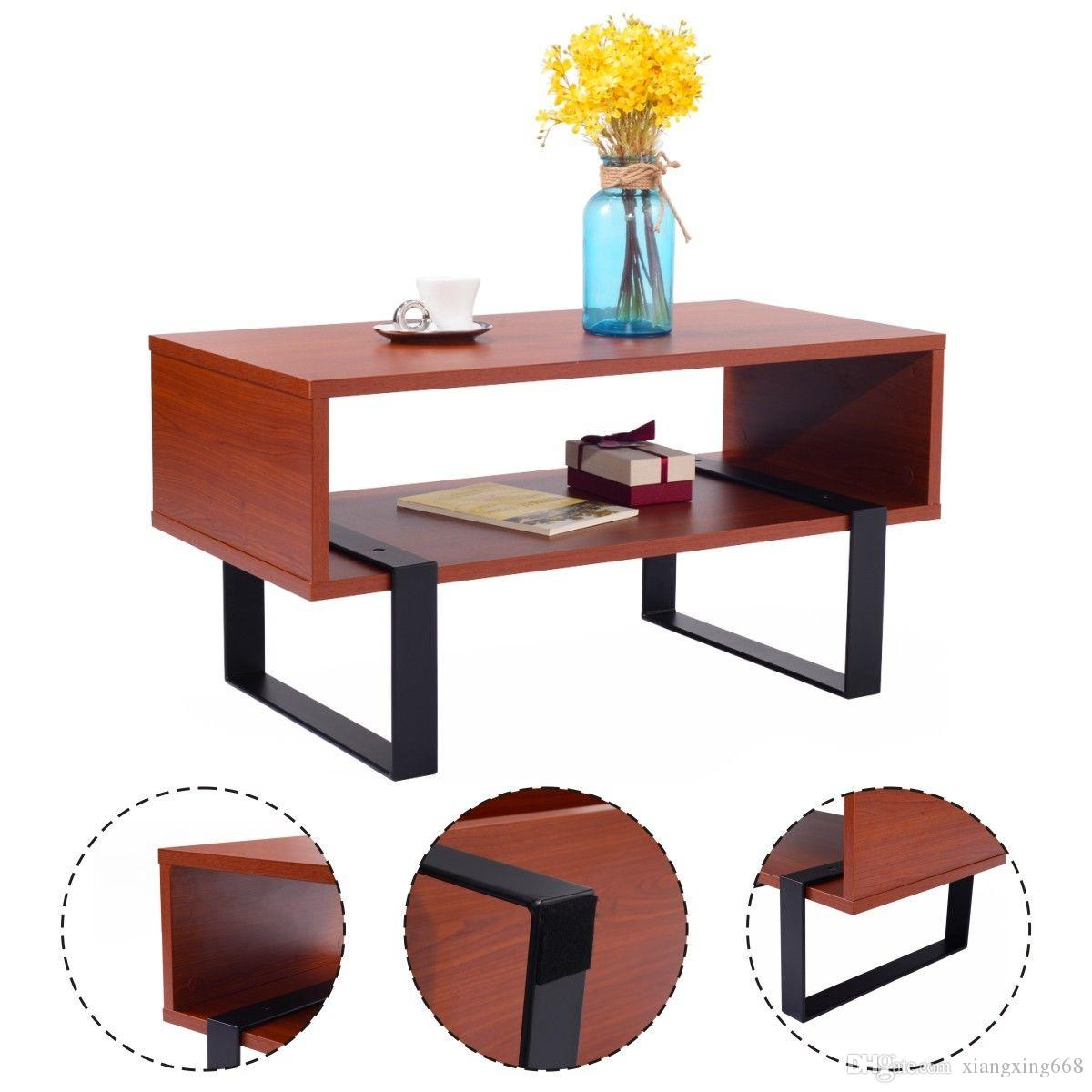Coffee End Table Wood And Metal Modern Living Room Furniture W