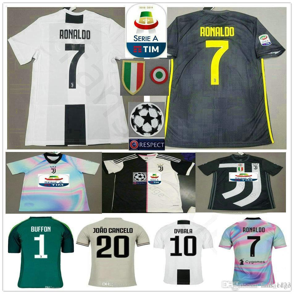 5ec525426ea 2019 RONALDO JUVENTUS Soccer Jerseys 2019 RONALDO  7 BUFFON 10 DYBALA  MANDZUKIC Custom 19 20 Home Away Third Men Women Kids Youth Football Shirt  From ...