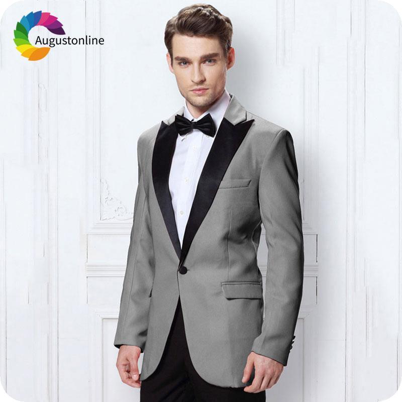 Acheter Slim Fit Grey Hommes Costumes De Mariage Marié Tuxedos Noir Costume  Italien Revers Homme Personnalisé Fait Groomsmen Costume Homme Blazers Veste  De ... 4757fe6ec06
