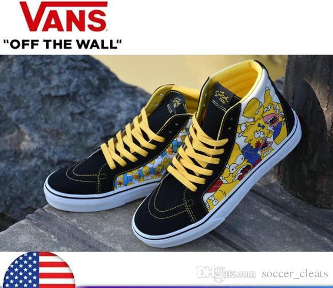 Compre 2019 New VANS Dos Desenhos Animados Comic Simpson Homens Mulheres  Sapatos De Skate Metade Do Táxi Esporte Velho Skool Skate Canvas Designer  Tênis ... 0c224ea46b2