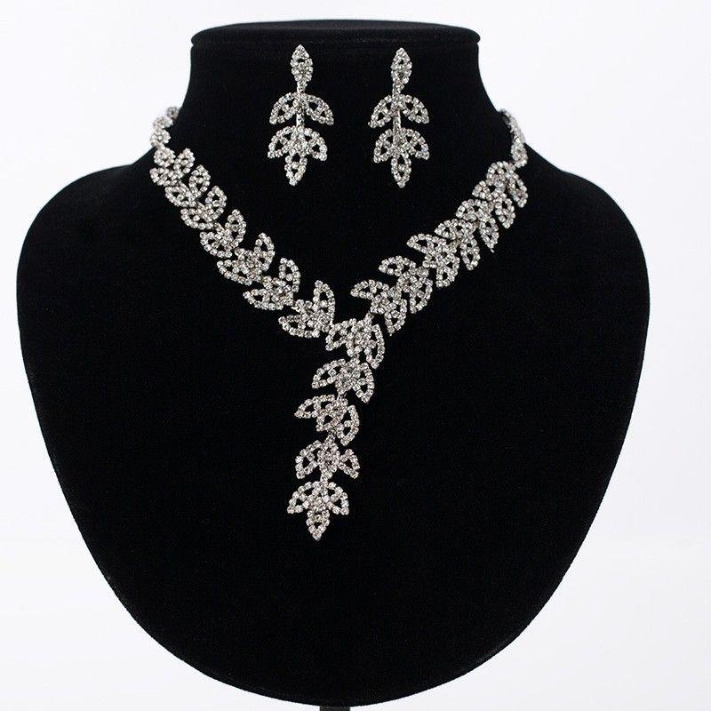 Hot Sale Women Crystal Rhinestone Bridal Jewelry Set African Wedding Jewelry Set Necklace Earrings best gift N179
