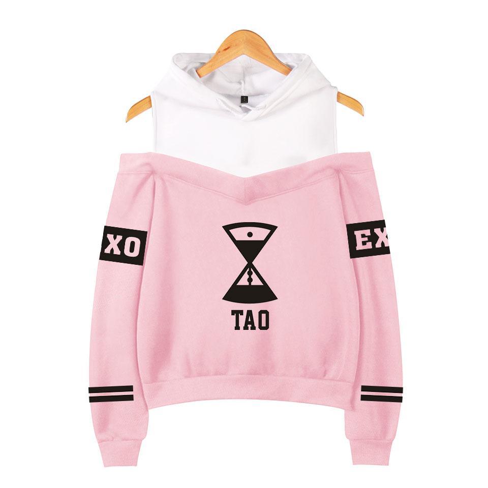 707c8ffb76 Großhandel EXO Off Shoulder Hoodies Beliebte Print Damen Kleidung EXO  Harajuku Sweatshirts Kpop Langarm Tao KRIS Hoodies Sweatshirts Von  Callaway, ...