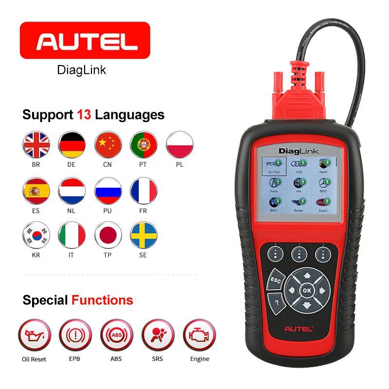 AUTEL Diaglink OBDII EOBD Car Diagnostic Code Reader Oil Reset SRS EPB ABS  Transmission All system Automotive OBD2 Scanner Tool