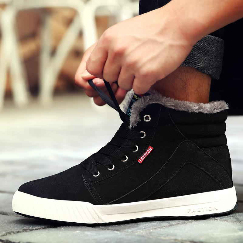 Men High Top Comfortable Adultos Black Man Boots Fashion Non-slip Sneakers Brands Zapatos Snow Boots Big size Winter Male Shoes