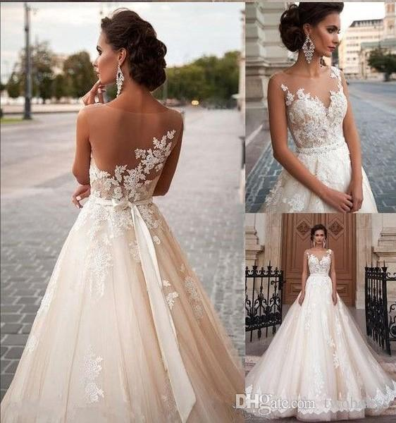 compre 2019 vestidos de novia de cintura imperio una línea de escote