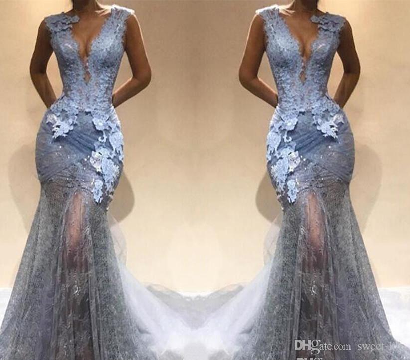 Abend V Mermaid Silber Ausschnitt Spitze Tiefem Grau 2019 Party Prom Appliques Maxi Kleider Dresses Illusion Sexy Kleid N8wvm0n