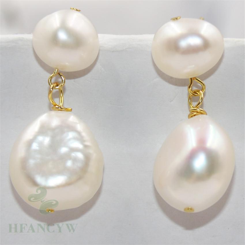 14-15mm White Baroque Pearl Earrings Diy Ear Stud jewelry