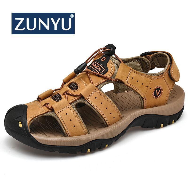 45bd00eb71d Acheter ZUNYU 2019 Nouveau Chaussures Hommes Véritable En Cuir Hommes  Sandales D été Hommes Chaussures Plage Sandales Homme Mode En Plein Air  Casual Baskets ...