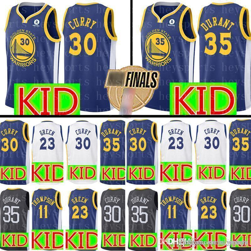 47e2d3936 authentic 2019 golden state new kid warriors jersey youth 30 stephen curry 35  kevin durant 11