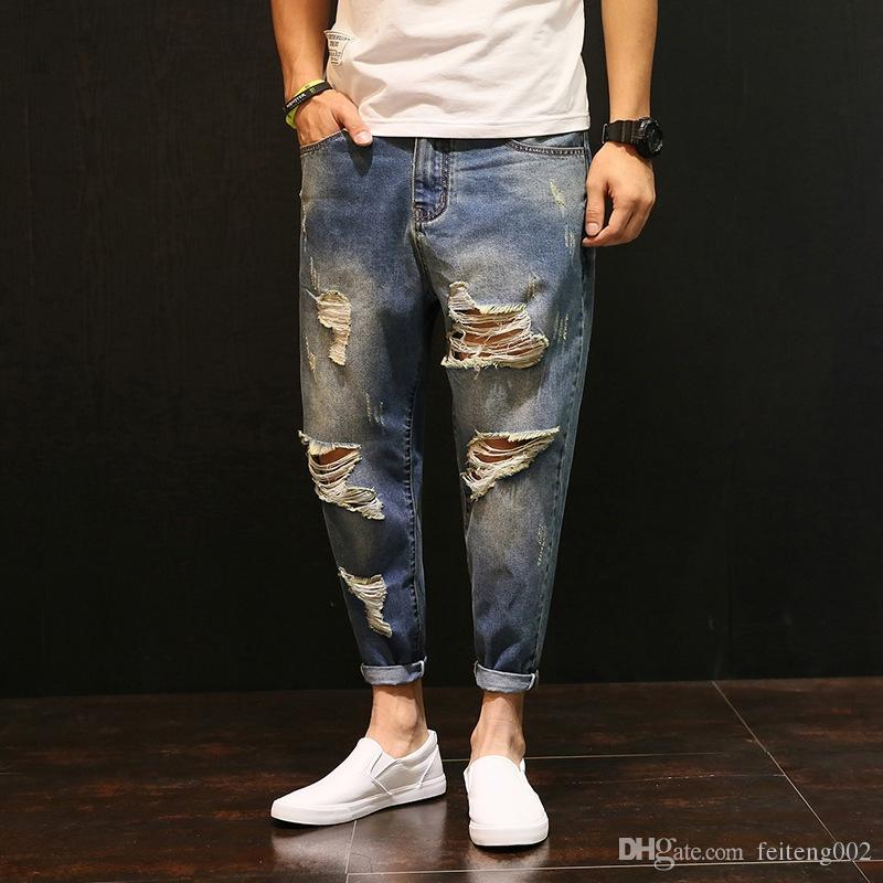 5c5db4c1 2019 Men Baggy Ripped Hole Denim Pants Male Distressed Harem Jeans Oversize  42 Hip Hop Cropped Jean Pants Do Old Style Joggers A60504 #349149 From ...