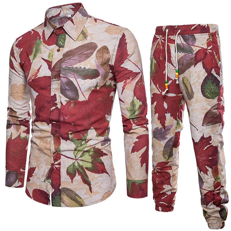 Maple Leaf Print Men Dinner Suits Fashion Plant Style Shirs Male Festival Tracksuits Travel Wear Casual Clothing 5XL Long Pants
