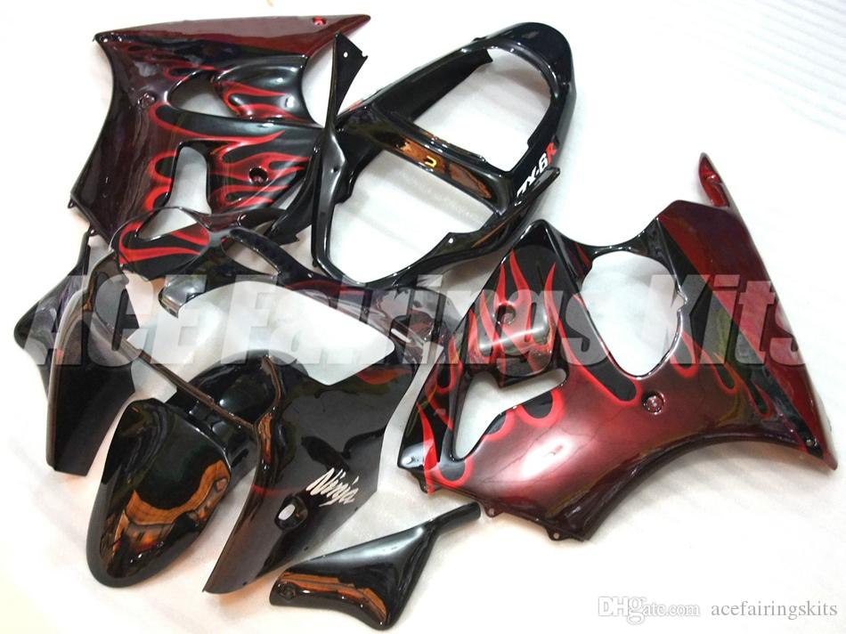 High quality New ABS motorcycle fairings fit for kawasaki Ninja ZX6R 636 ZX-6R 2000 2002 00 02 fairing kits black red flame