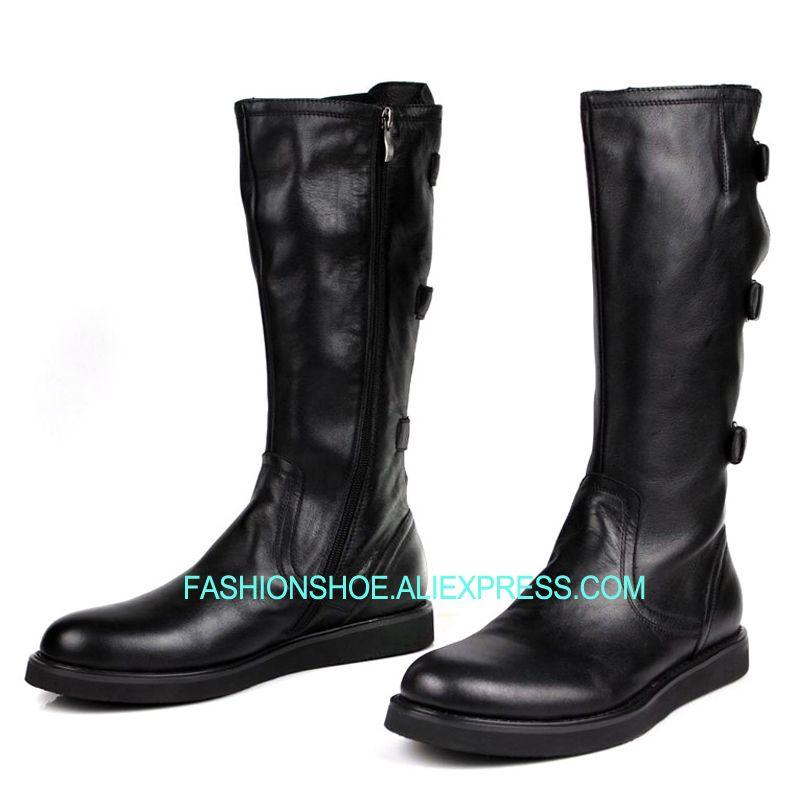 Souple Hommes Cuir Genou Armée Chaussures Hautes Bottes Haute En Noir TJuF15c3Kl