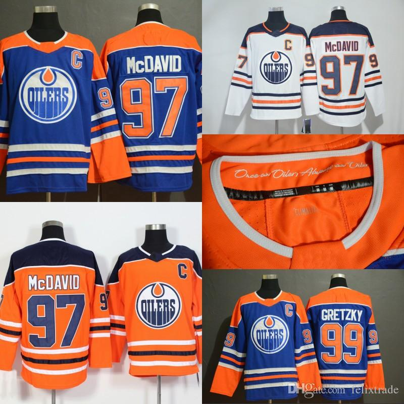 97b549ee7d9 2019 2019 Edmonton Oilers Blue Retro Jerseys 40th Patch Connor McDavid  Wayne Gretzky Milan Lucic Leon Draisaitl Ryan Nugent Hopkins Cam Talbot  From ...