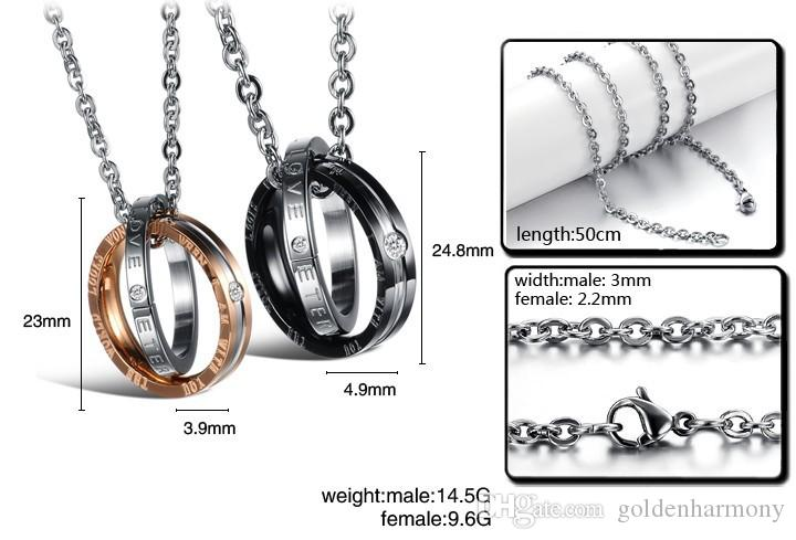 Fashion ring pendant, titanium steel couple necklace