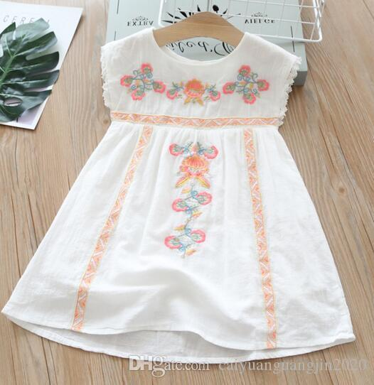 multi Colors New girl kids Clothes Elegant dress Round collar Sleeveless Flower Embroidery Ethic Design girl kids dress charming girl dress