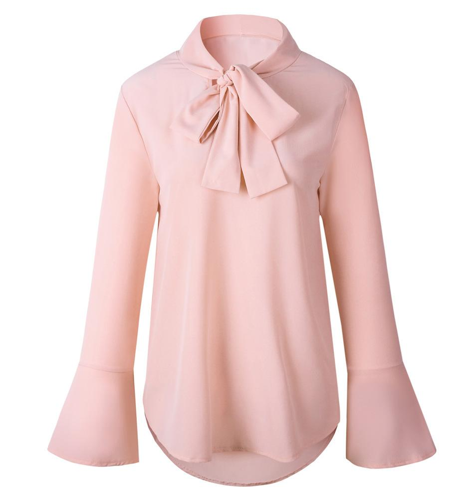 54b0e4bcbf63c9 2019 Bow Tie Neck Long Sleeve Shirts Women Tops Office Work Slim Bottoming  Shirt Spring Autumn Chiffon Blouses Yellow Black Blusas From Dolylove, ...