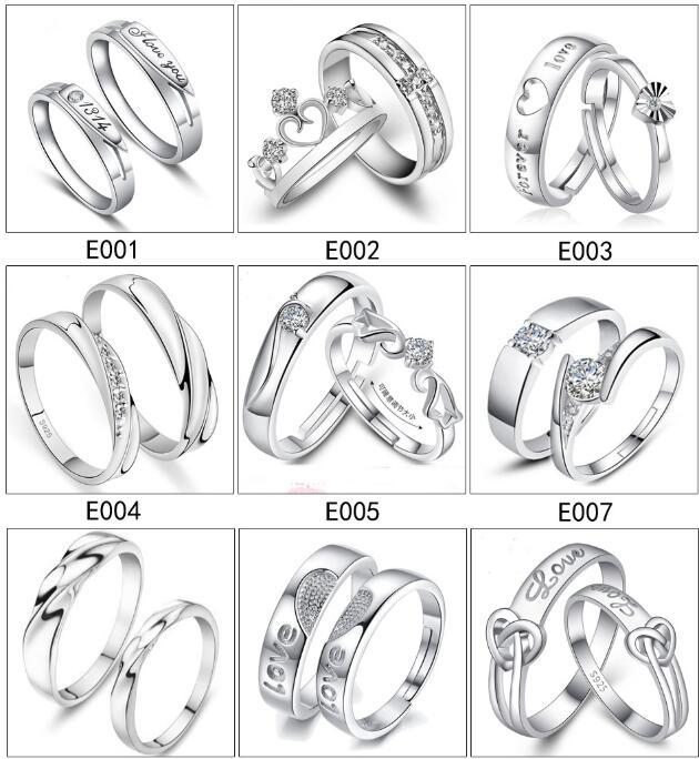 Wedding Ring Styles.Mix 28 Styles 925 Sterling Silver Jewerly Rings Diamond Engagement Ring Wedding Band Couple Ring Set Free Shipping