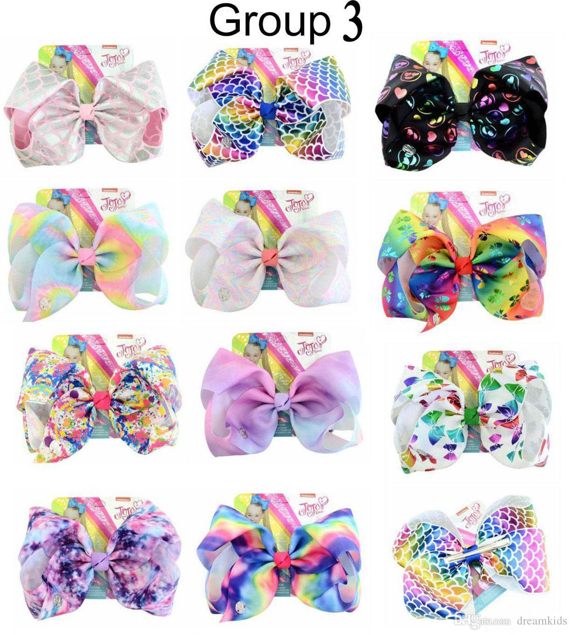 "8 Inch""jojo Girls Siwa Unicorn Collection Coral Colorful Hairpin Large Hair Bows Hair Accessories For Girls"