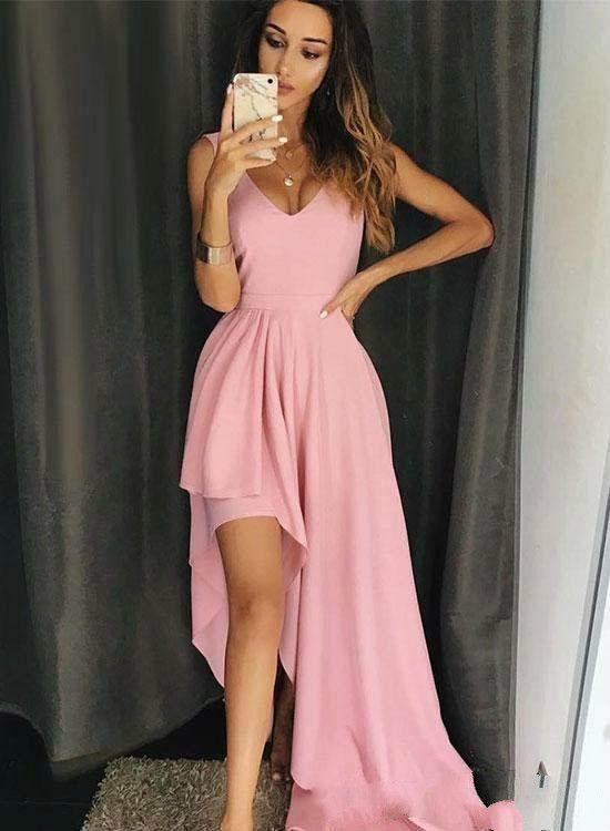 58d0ddf6344c 2019 Cheap Hi Lo Party Dresses Prom Dresses Pink Color Deep V Neck Cap  Sleeve Layer Skirt Chiffon Elegant Formal Evening Dresses Plus Size 2015 Prom  Dress ...