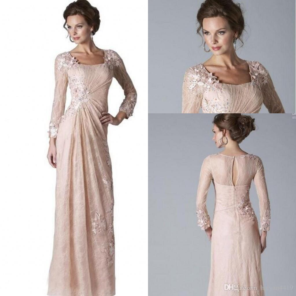 65a4e7c6d35 2019 New Elegant Blush Pink Mother Of Bride Dresses Square Long Sleeves  Lace Appliques Floor Length Custom Weddings Evening Party Prom Gowns  Mothers Bride ...