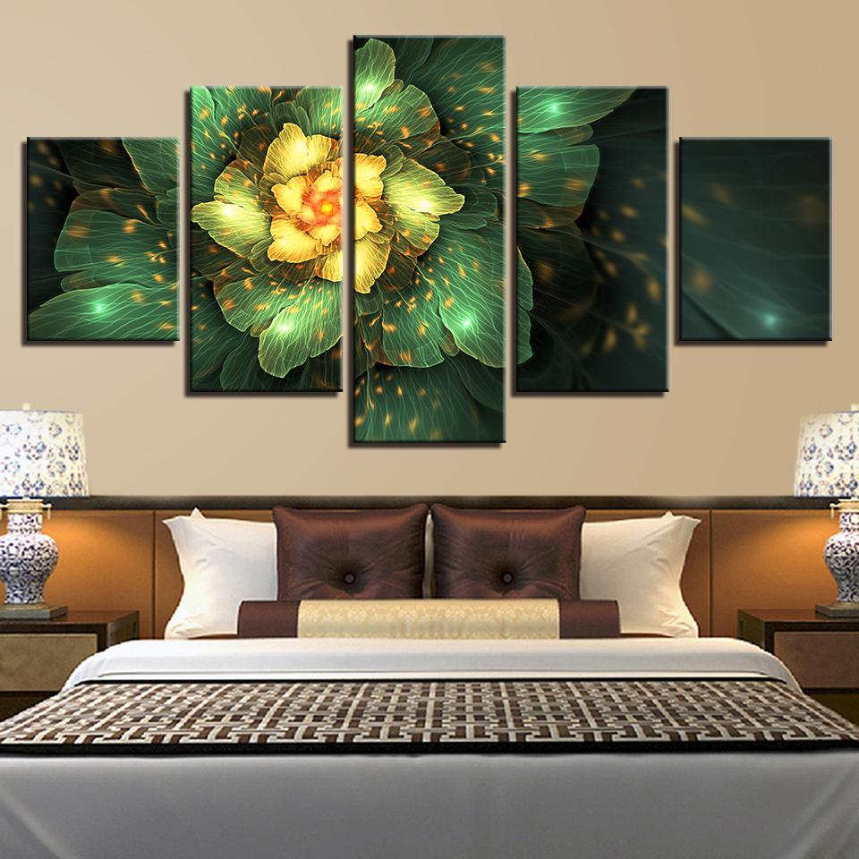 Canvas Paintings Living Room Decor 5 Pieces Fantasy Golden Flowers Pictures  HD Print Abstract Green Leaves Poster Wall Art Frame
