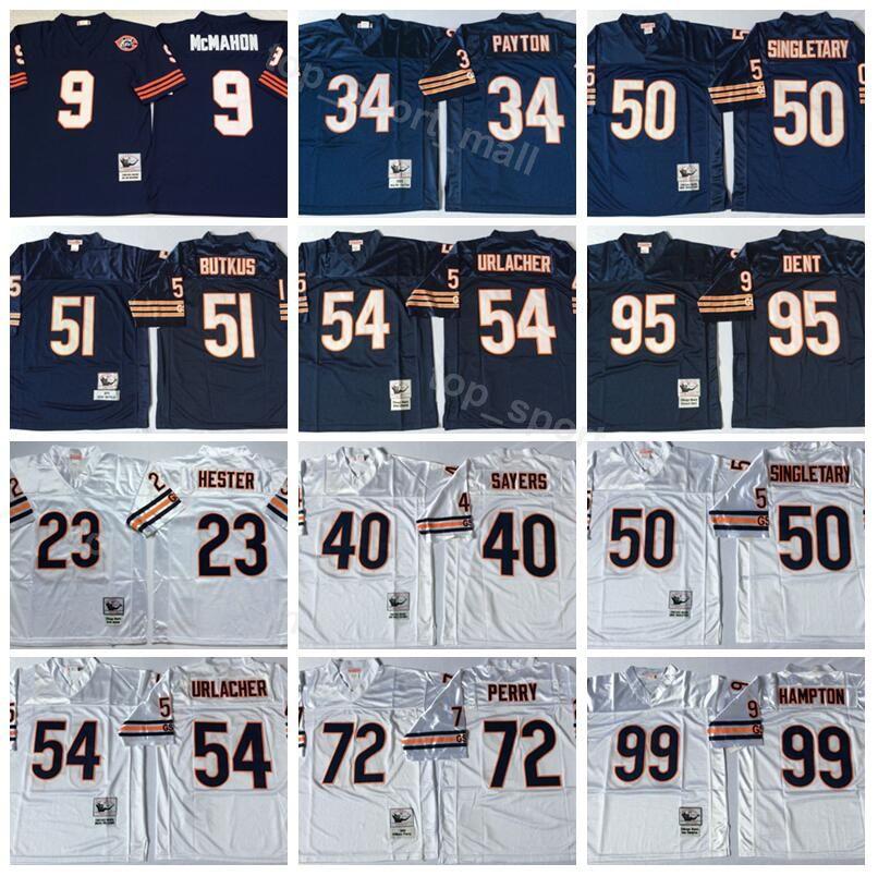 7ac9d508 Men Vintage Chicago Football Bears 54 Brian Urlacher Jersey Blue White 99  Dan Hampton 95 Richard Dent 72 William Perry 51 Butkus