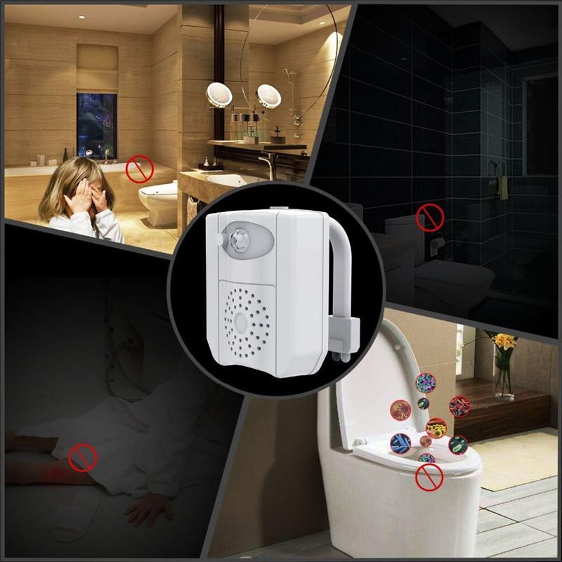 Hot Mini Smart Pir Motion Sensor Asiento de inodoro Luz de noche Fallo a prueba de agua WC Tazón de inodoro LED Lámpara de aromaterapia UV de desinfección