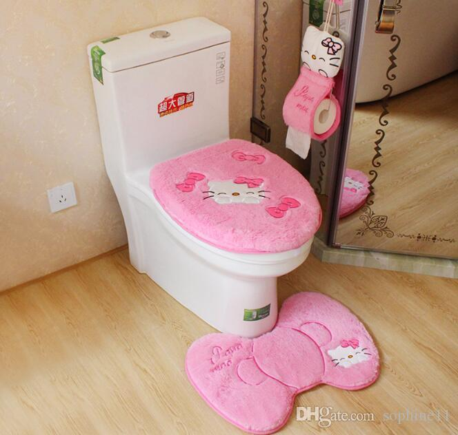 2019 Hello Kitty Bath Toilet Set Toilet Seat Cover Bath Mat Holder