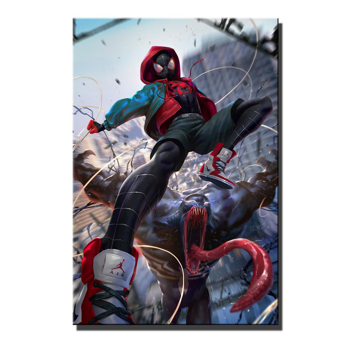 Satın Al örümcek Adam Vs Venom Hd Tuval Baskı Yeni Ev Dekorasyon
