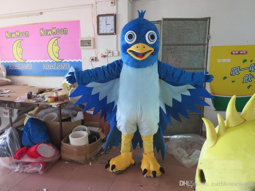 2017 new blue big mouth bird mascot costume EVA plush adult size cartoon  clothing The legend of Condor Hero animal bird Halloween mascot