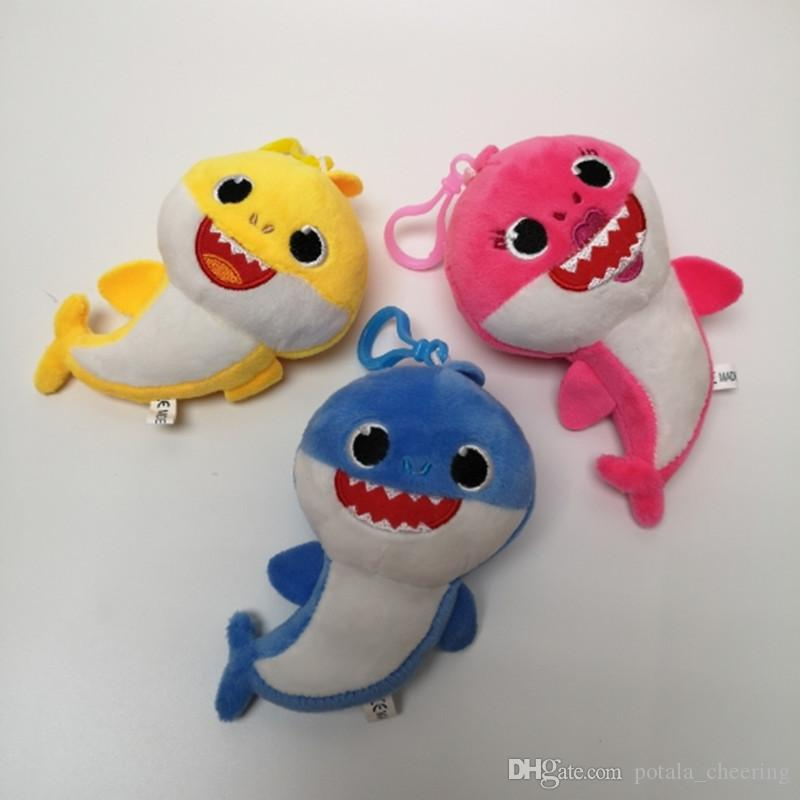 4inch 10CM BABY SHARK Plush Keychains Toys Music Cartoon Stuffed&Plush Keyrings 4'' Dolls Shark Toy 3 COLORS Pendant School Bag Car Decor