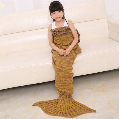 dd3db73eba9 Kids Mermaid Sofa Knitting Blanket Air Conditioning Sofa Sleeping ...