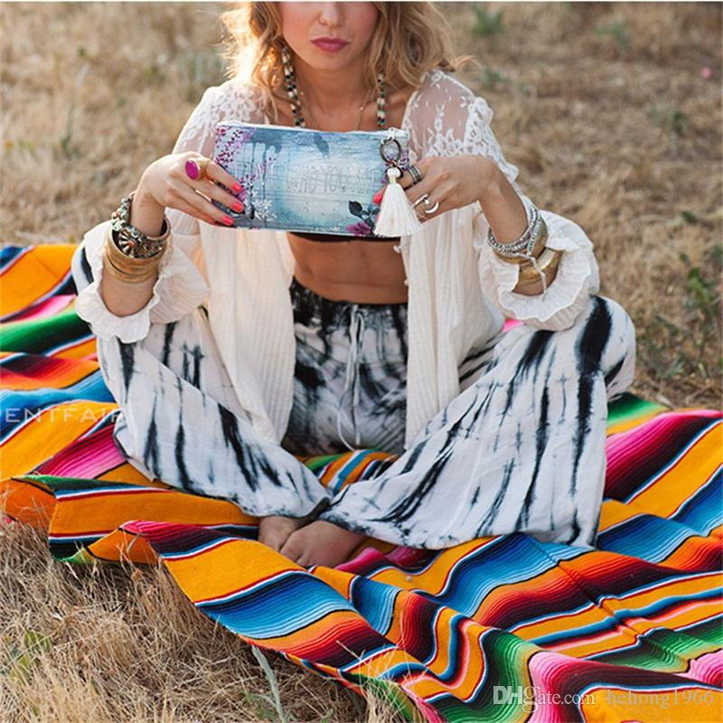 4 Size Fashion Portable Blanket Rainbow Stripe Camping Beach Picnic Mat Household Table Cloth With Tassel 30 8dz