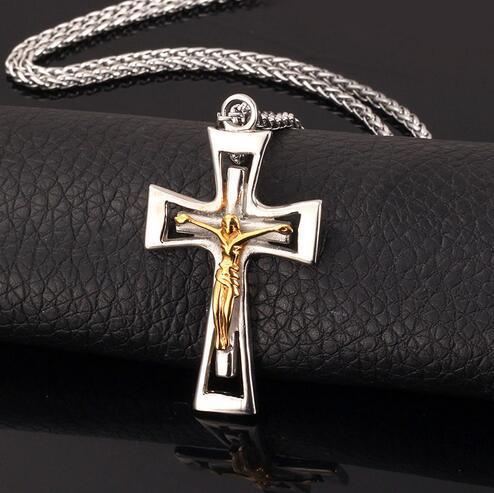Haç Çapraz İsa Kolye Erkekler / Kadınlar Yılbaşı Hediyeleri Paslanmaz Çelik Çapraz Kolye Dini Hıristiyan Takı P531