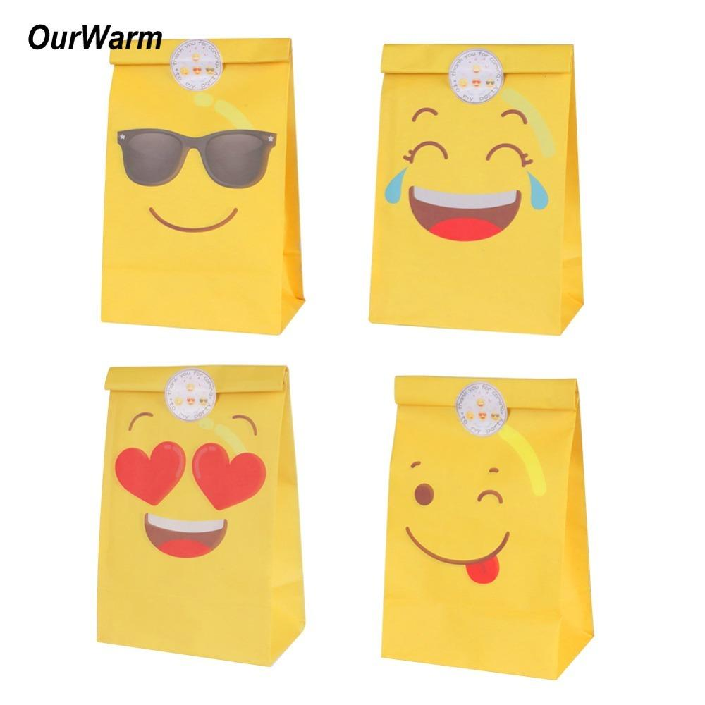 OurWarm Emoji Paper Gift Bag Party Decorations Bags For Candy Birthday Supplies With Stickers C18112701 Green Christmas Wrapping