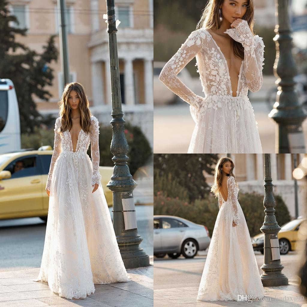 4bc4bba29c Discount Berta 2019 A Line Beach Wedding Dresses Long Sleeve Sheer V Neck  Lace Appliqued Bridal Gowns Sweep Train Tulle Boho Casual Wedding Dress  Mermaid ...