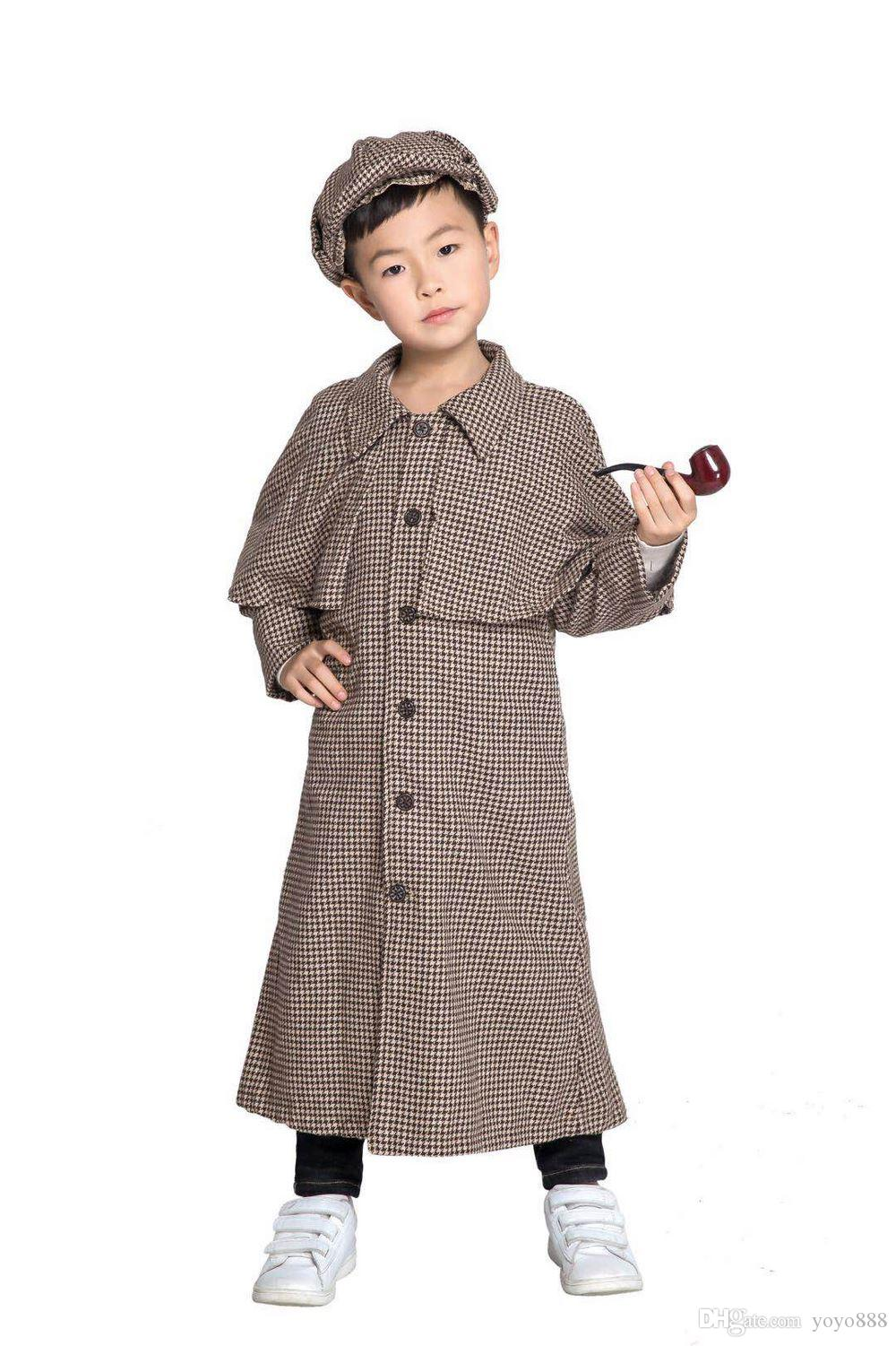 Sherlock Holmes Children's Suit Cosplay Fancy Dress Cosplay Outfit Carnival Costume SM2022