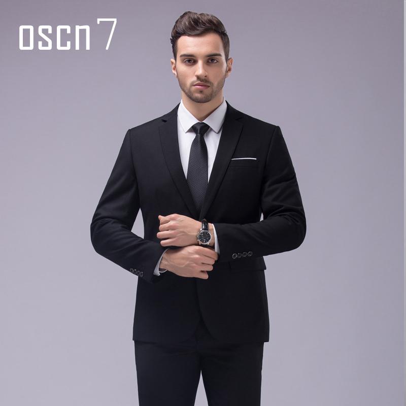 72c800aa6d9 OSCN7 Slim Fit Suits Men Notch Lapel Business Wedding Groom Leisure Tuxedo  2017 Latest Coat Pant Designs S-4XL C19011401 Online with  104.88 Piece on  ...