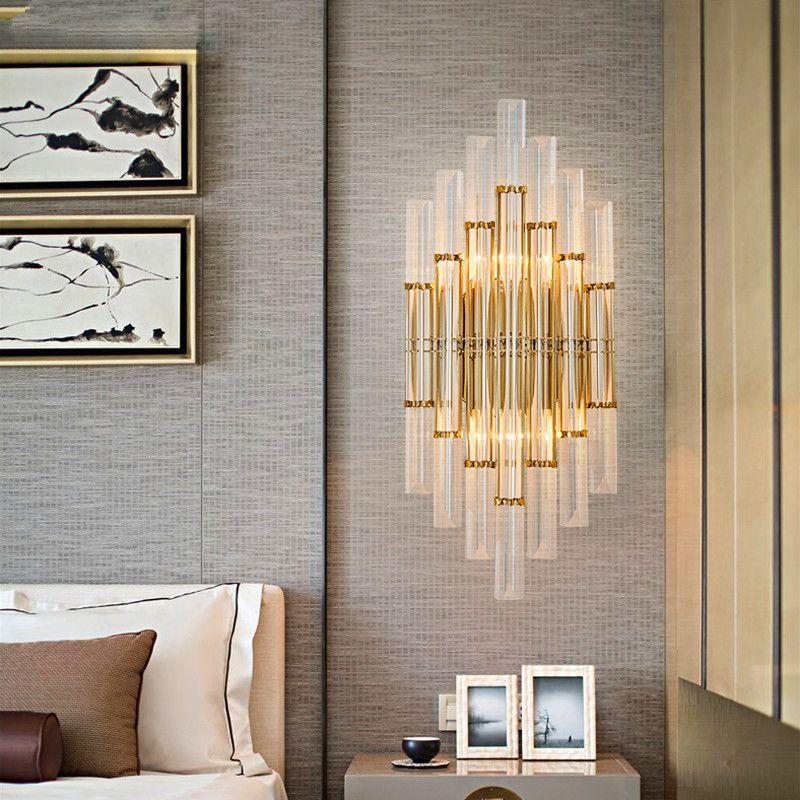 JESS Moderne Glanz Kristall Wandleuchte Gold Metall Schlafzimmer Led  Leuchten Wohnzimmer Led Wandleuchte Flur Wandleuchte