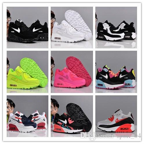 Nike Air MaX 90 youth Running Shoes kid Sneakers max run out door Sports shoe classic 90s Trainer Air Cushion Surface size 26 35