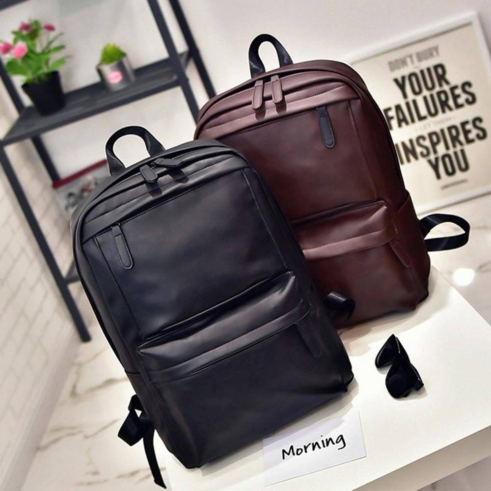 15c4d8343435 Men Women Leather Backpack Unisex Large Capacity Shoulder Bags Student  School Bookbag Laptop Satchel Travel Rucksack Bag