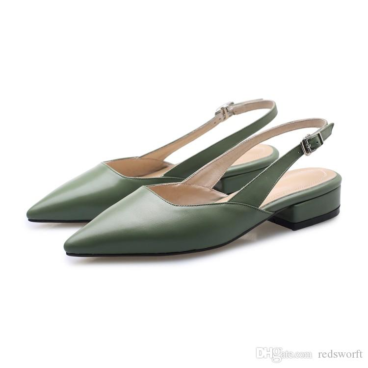 d3eb06557e New Designer Ladies Sandals Sling Back For Womens Sandals Genuine Leather  Flat Heels Black Apricot Green Size US6 9.5 Jesus Sandals Black Wedges From  ...