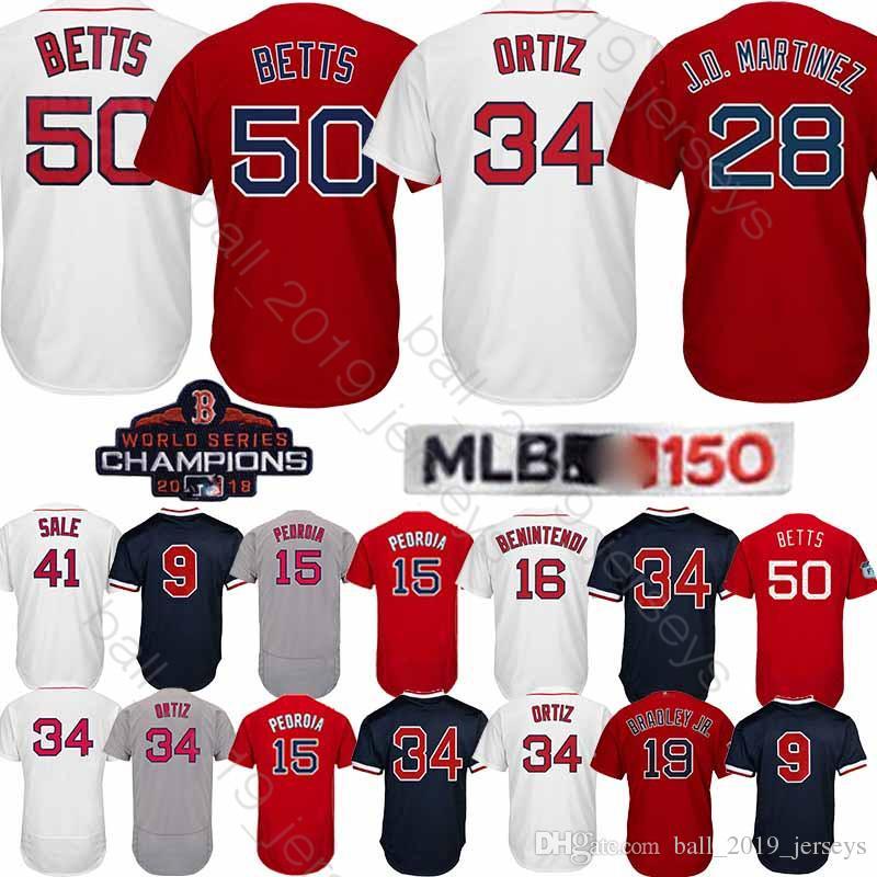 online retailer d1b97 9892c Boston Red jersey Sox 50 Mookie Betts jersey 28 J D Martinez J.D. 34# 150th  anniversary patch jerseys