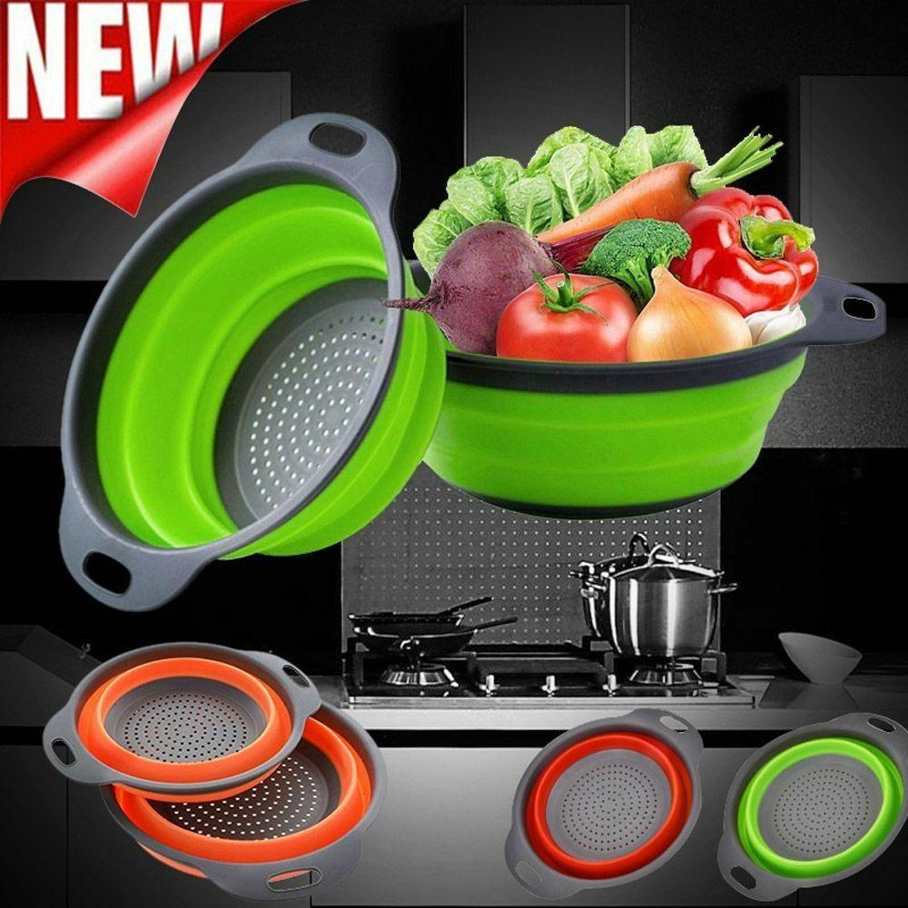 Home Folding Silicone Strainer Creative Kitchen Fruit Filter Basket Vegetable Strainer Collapsible Colander Kitchen Accessories