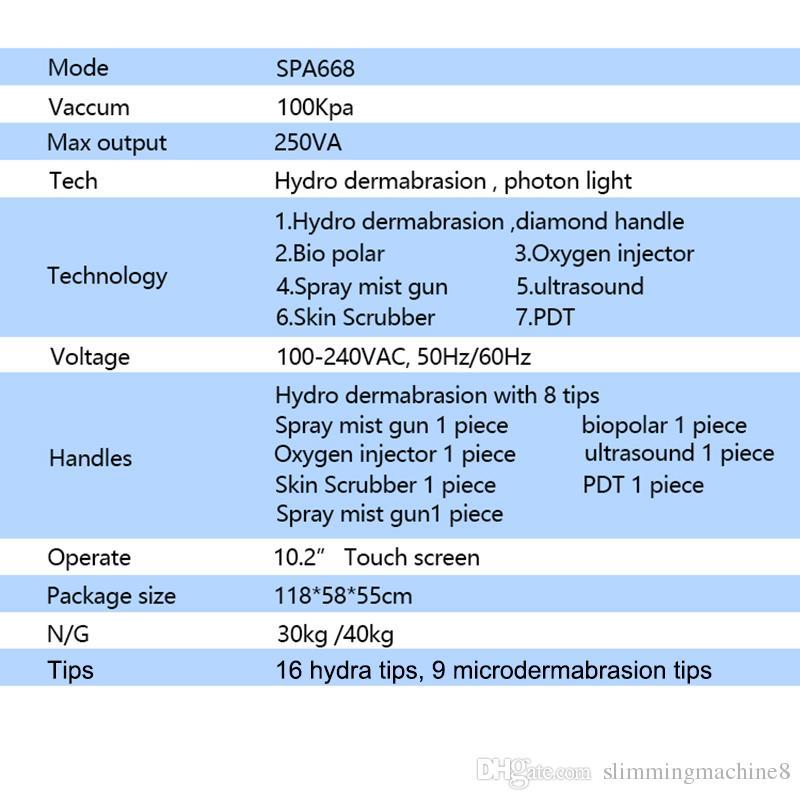 8in1 Vakum Hidro Dermabrazyon Yüz Temizleyici Su Oksijen Jet Peel Makinesi Gözenek Temizleyici Hydrafacial Hydra yüz makine PDT LED 7 renk