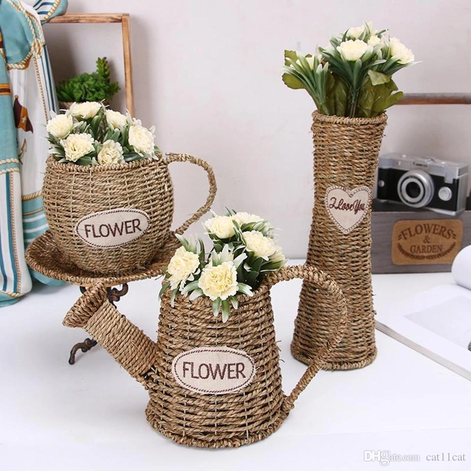 DHgate.com & Handmade Storage Basket Wicker Rattan Flower Baskets Straw Rattan Green Plant Flower Pots Home Garden Decoration