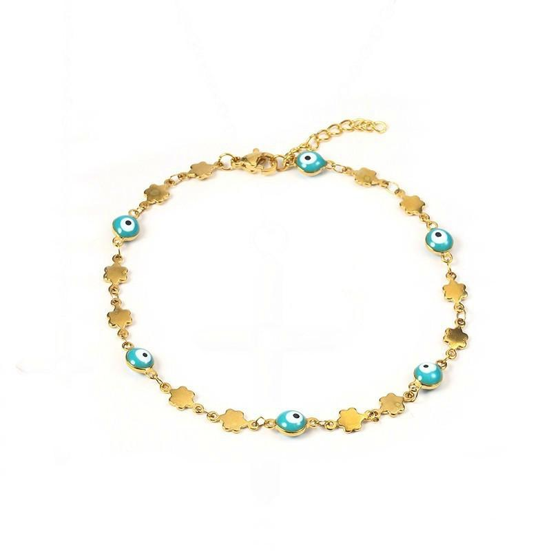 2019 Gold Turkey Tiny Mini Evil Eye Stainless Steel Chain Link Beads  Bracelet In Mixed Color Evil Eyes Protection For Her