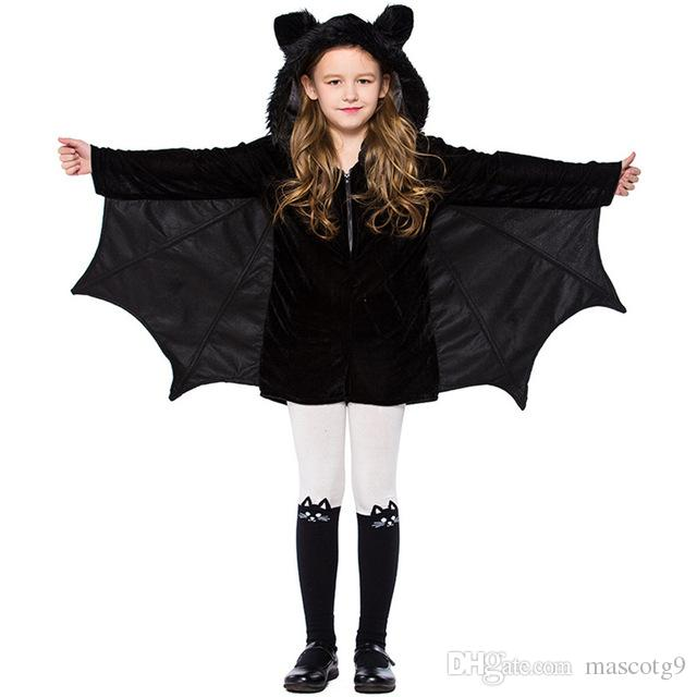 3acb7fdea71dc NEW Child Animal Cosplay Cute Bat Costume Kids Halloween Costumes For Girls  Black Zipper Jumpsuit Connect Wings Batman Clothes Costume Party Themes  List ...